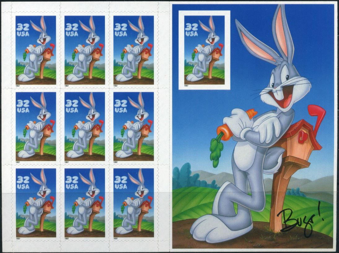 1997 US - Sc3138c 32¢ Bugs Bunny Pane - Imperforate (10) MNH